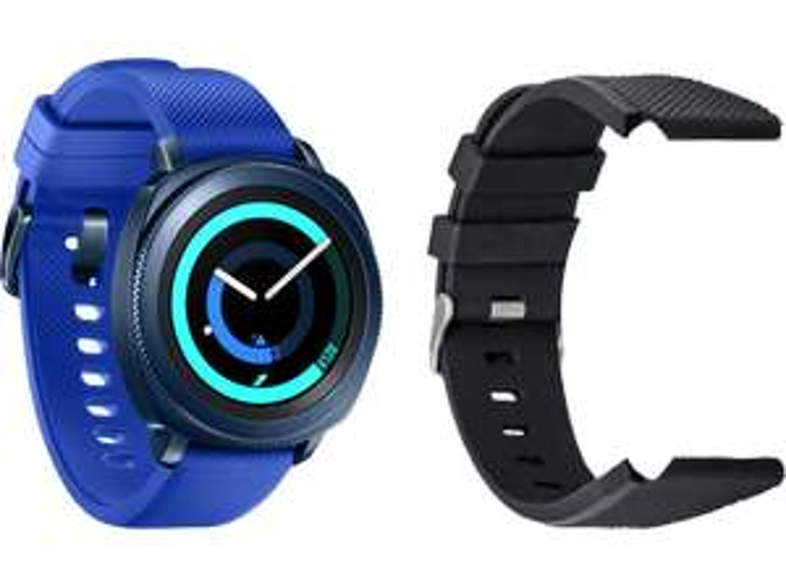 SAMSUNG Smartwatch Gear Sport SM-R600, blau+ Armband Samsung Sport/Galaxy 42mm, Silicon