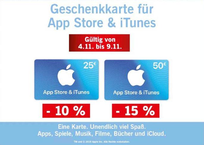 10% Rabatt auf 25 € / 15% Rabatt auf 50 € App Store und iTunes-Karten