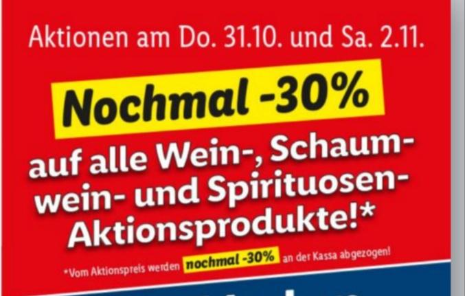 Lidl: -30% auf alle Wein-, Schaumwein- und Spirituosen-Aktionsprodukte