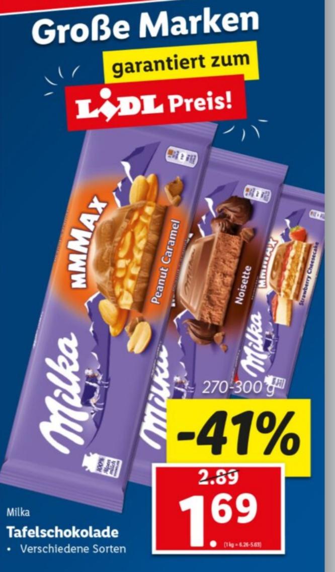 Lidl: Milka 300g Tafeln um 1,69€