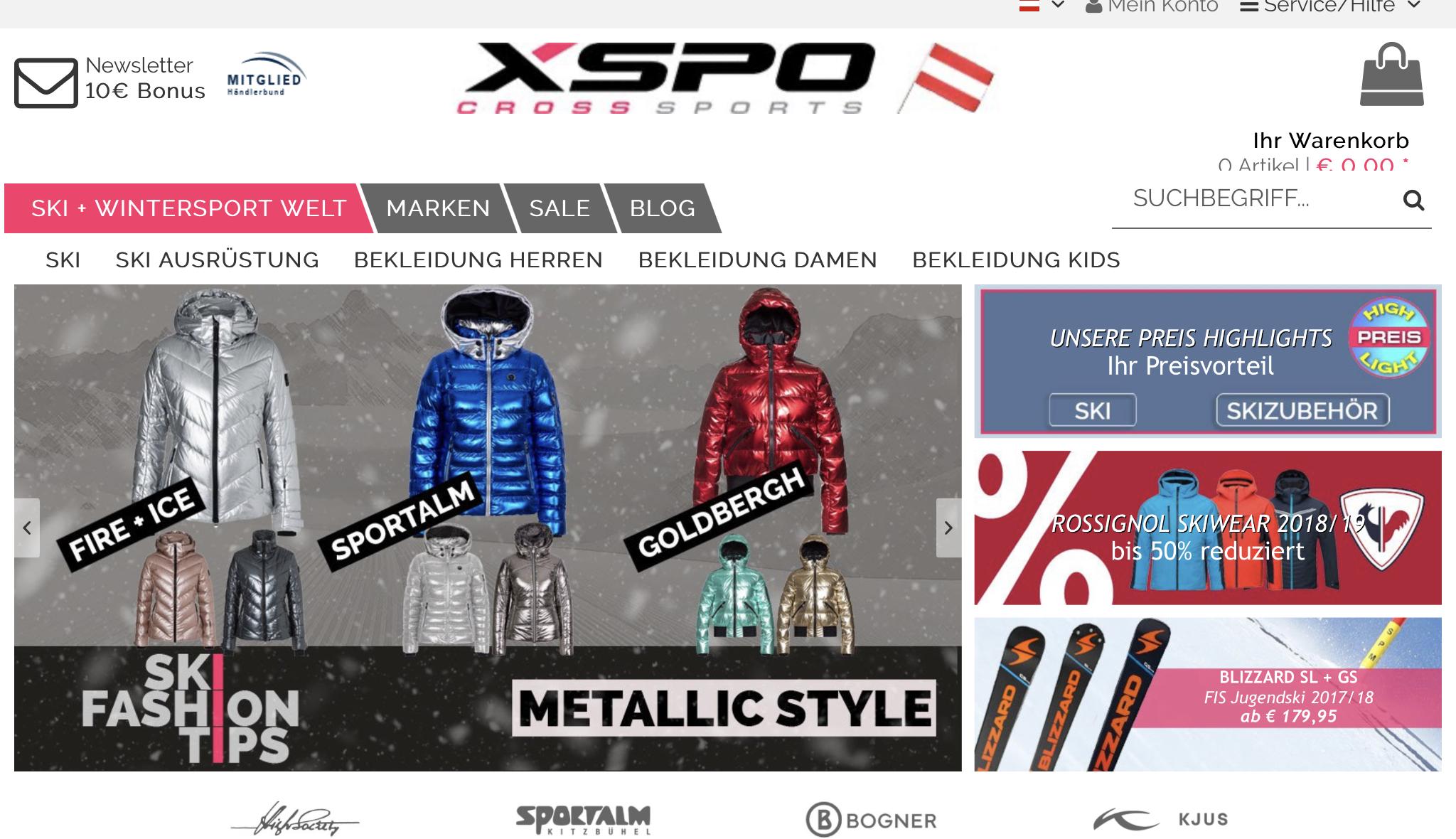 XSPO Newsletter abonnieren + € 10,00 Gutschein sichern MBW 60€