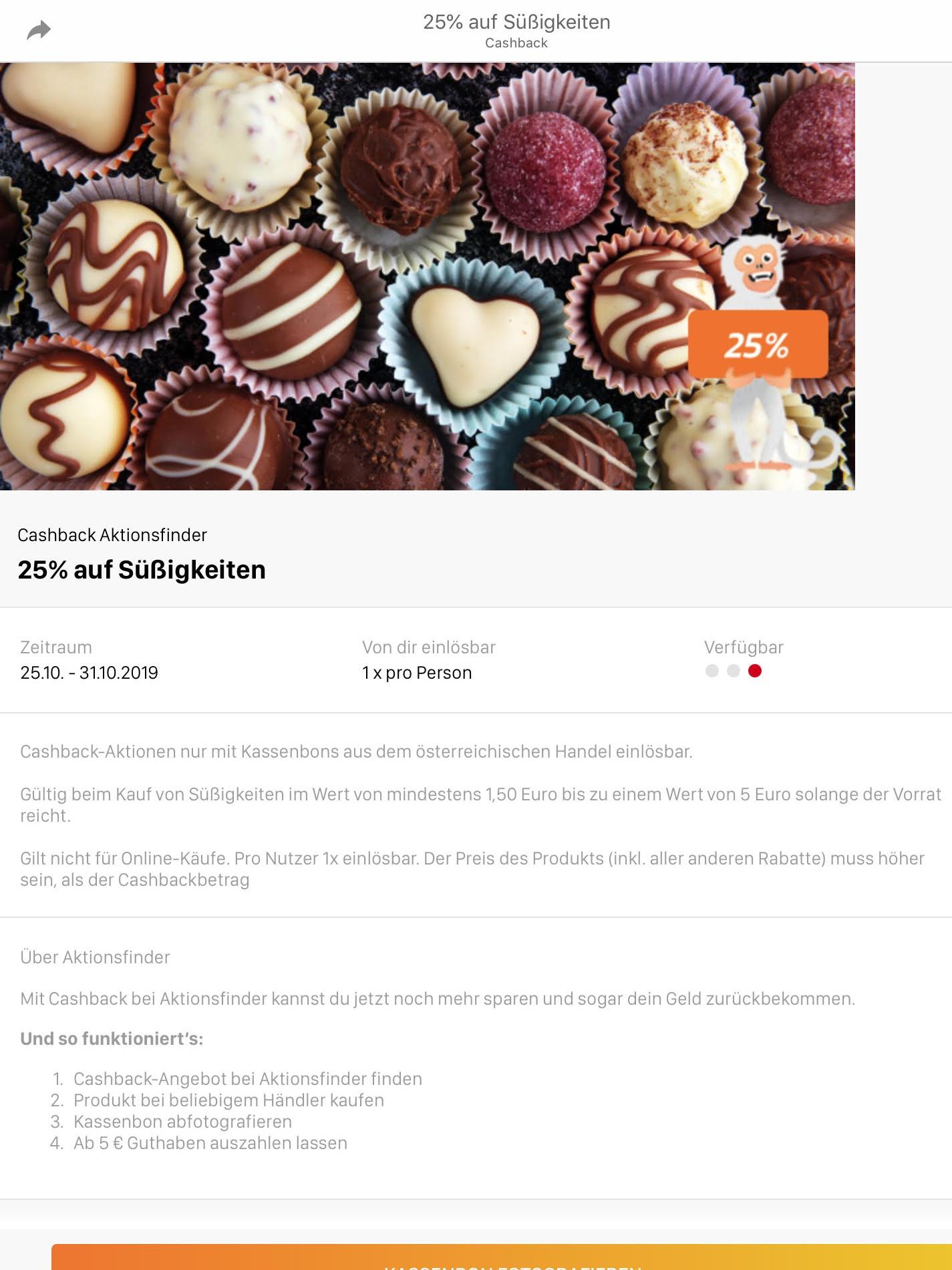 25% Cashback auf Süßigkeiten (Aktionsfinder App)