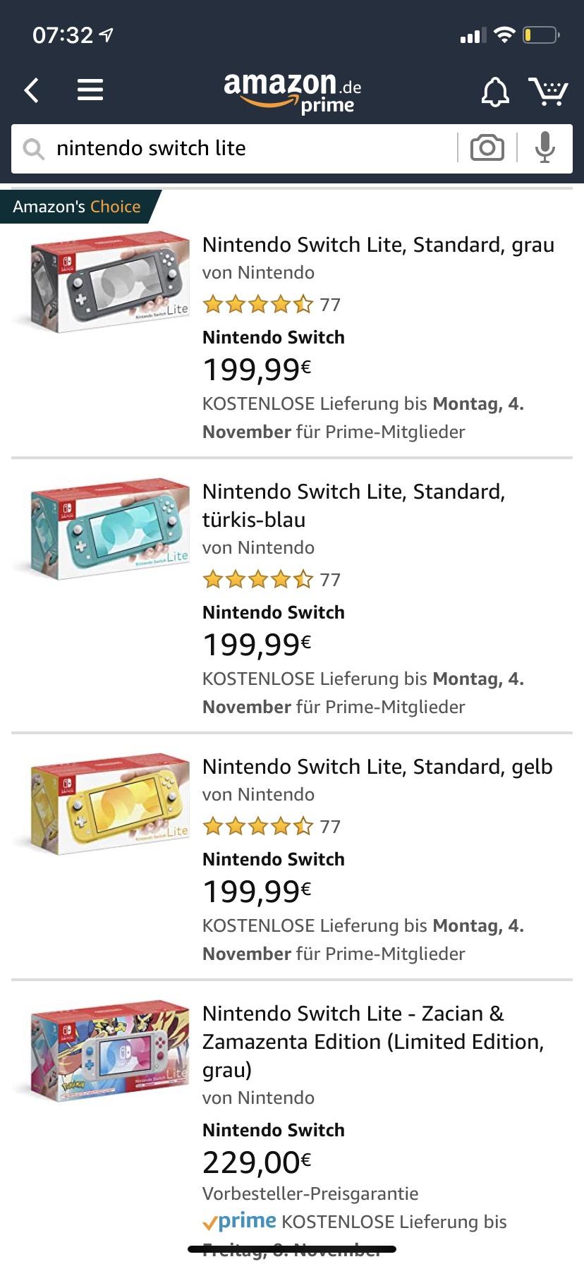 [Amazon] Nintendo Switch Lite in 3 Farben
