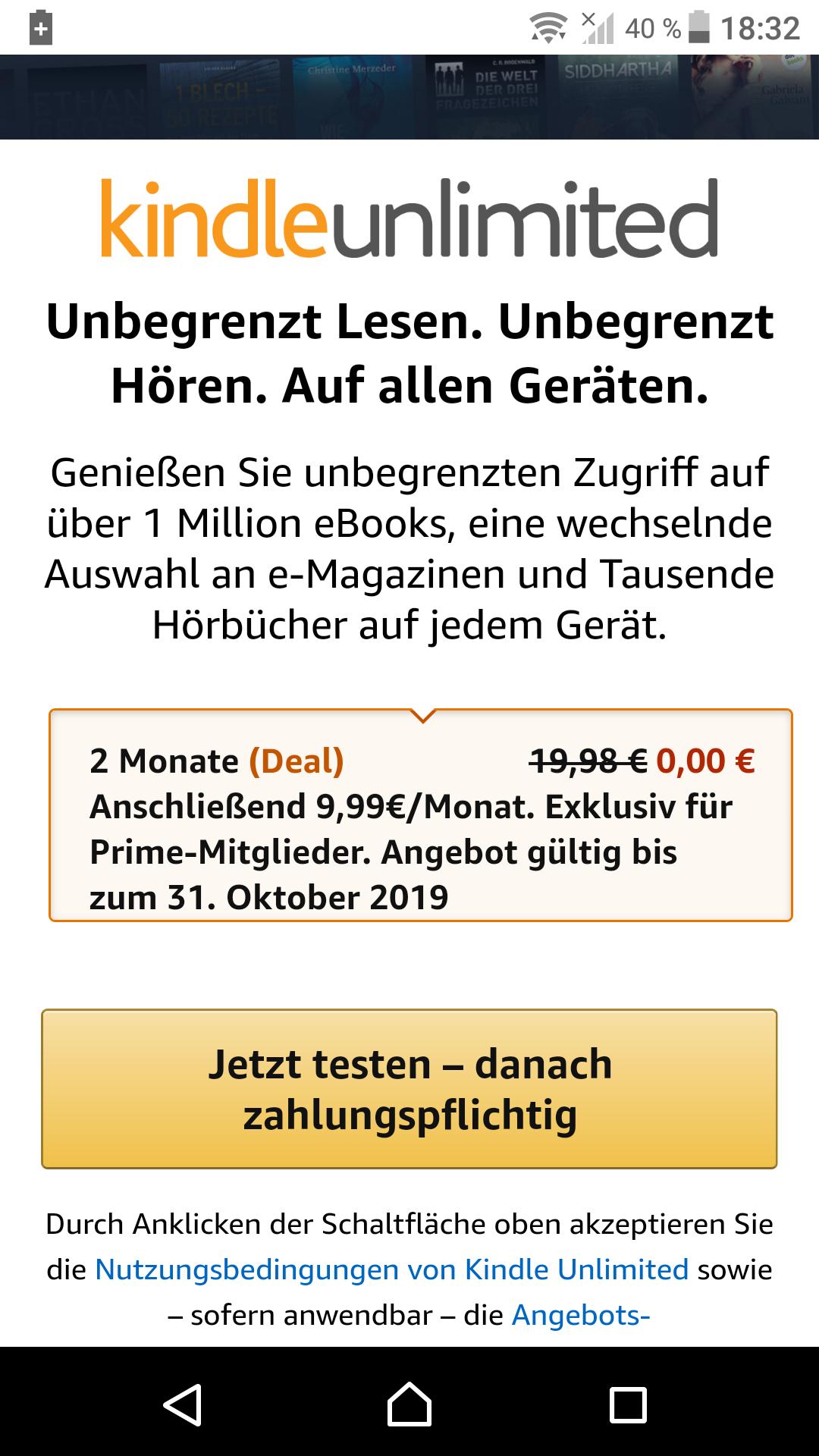 2 Monate gratis KindleUnlimited testen