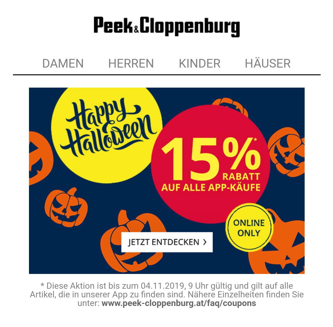 Peek & Cloppenburg 15 % auf App Einkäufe