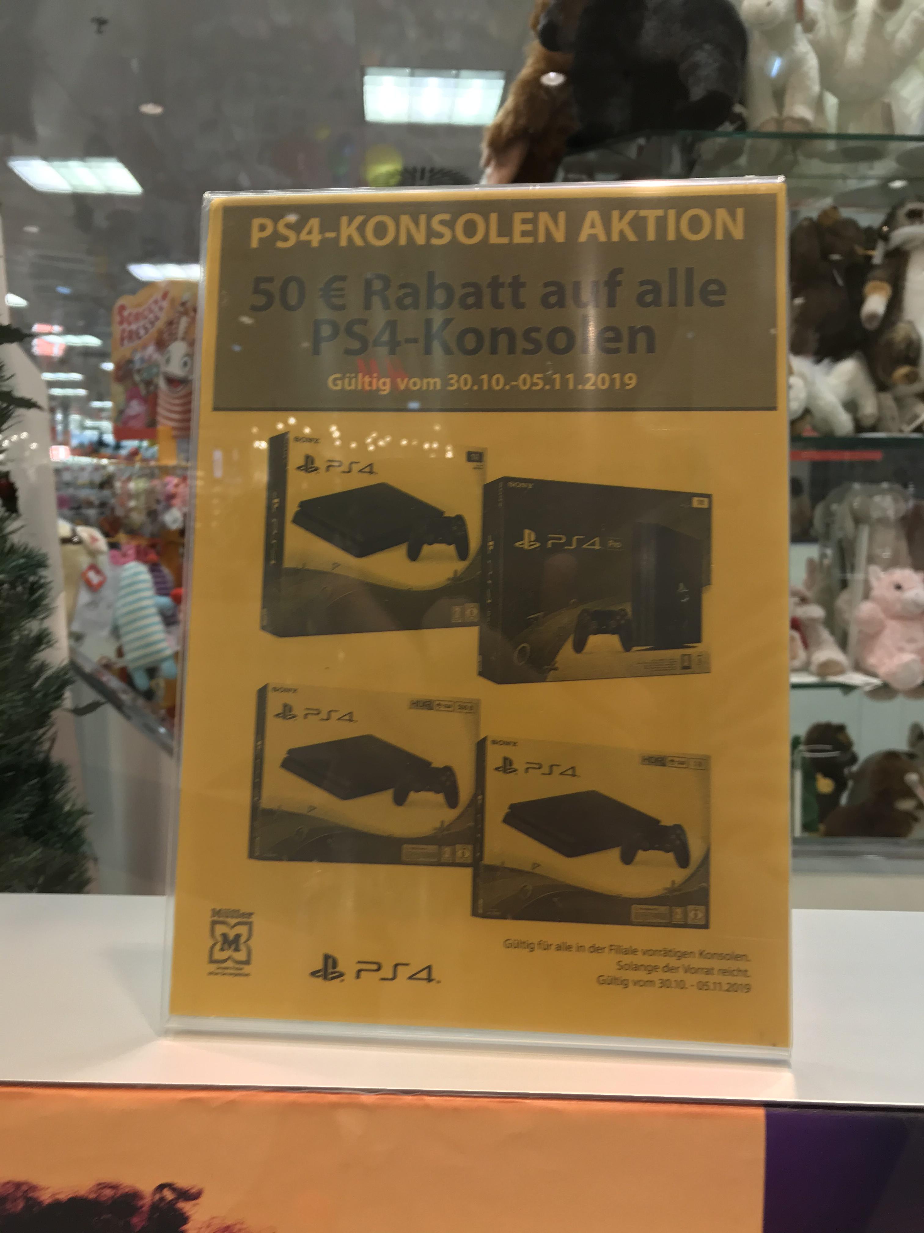 50 Euro Rabatt auf PS4 Konsolen bei Müller