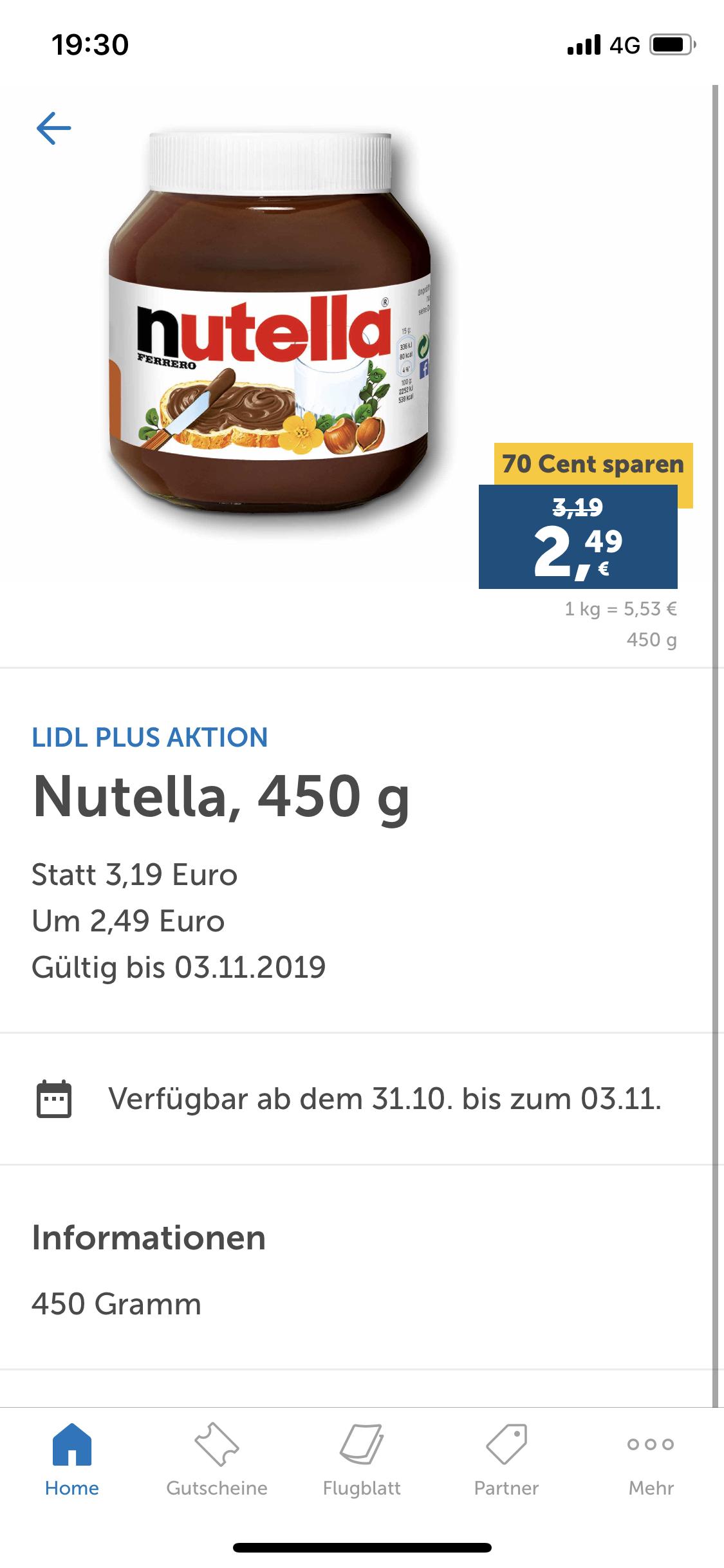 LIDL PLUS APP Nutella 450gr