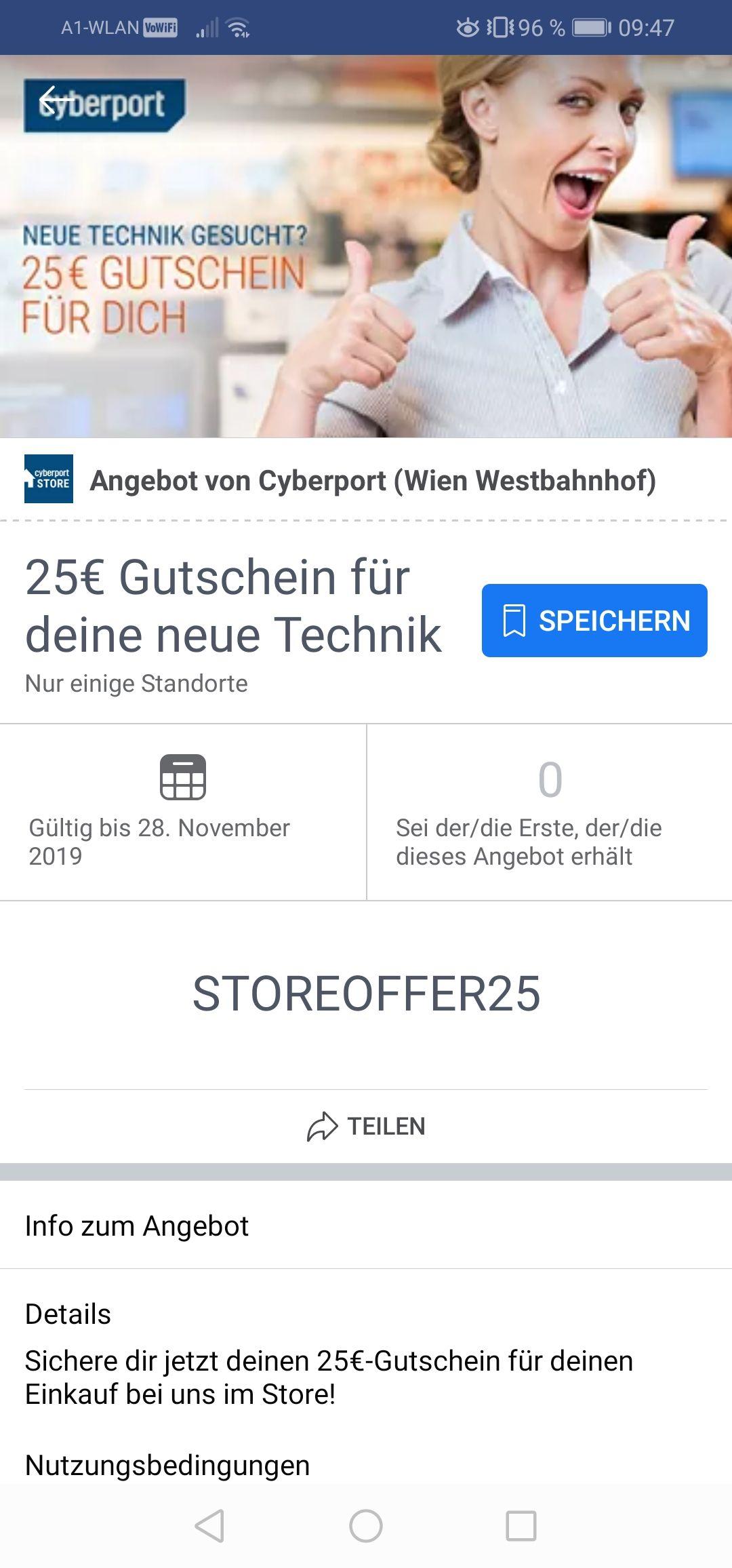 Cyberport: 25€ Gutschein ab 200 €