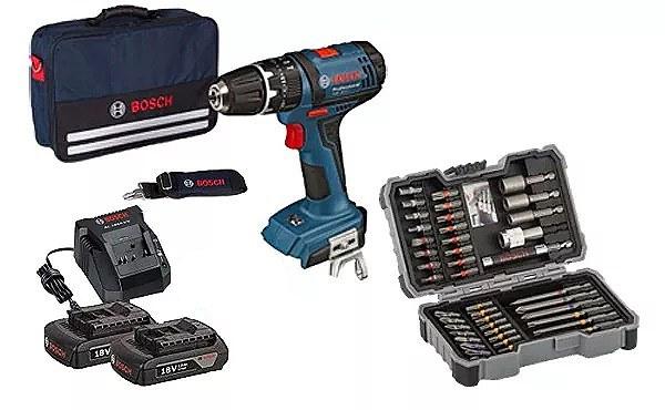 Bosch Schlagbohrschrauber GSB18-2-LI + 2 Akkus + Bosch Bit- und Steckschlüssel-Set 2607017164