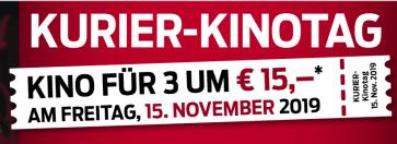Kurier Kinotag - 3 Tickets für 15 € in ausgewählten Kinos in Wien und Niederösterreich