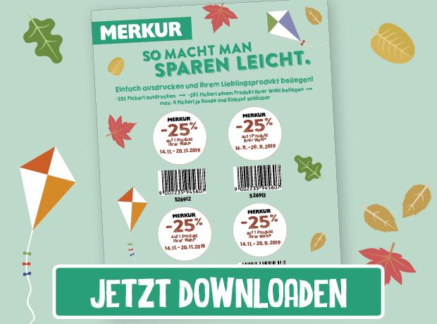 Merkur -25% Rabatt-Pickerl Online (14.11. bis 20.11 2019)