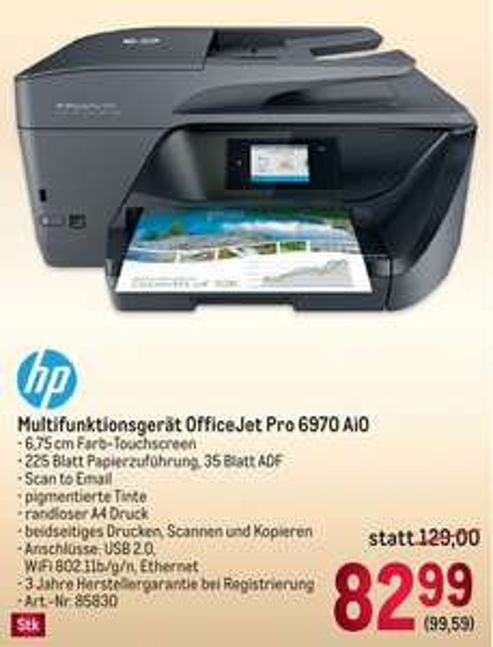 METRO: HP OfficeJet PRO 6970 All-In-One-Drucker mit gratis 3-Jahre CarePack!