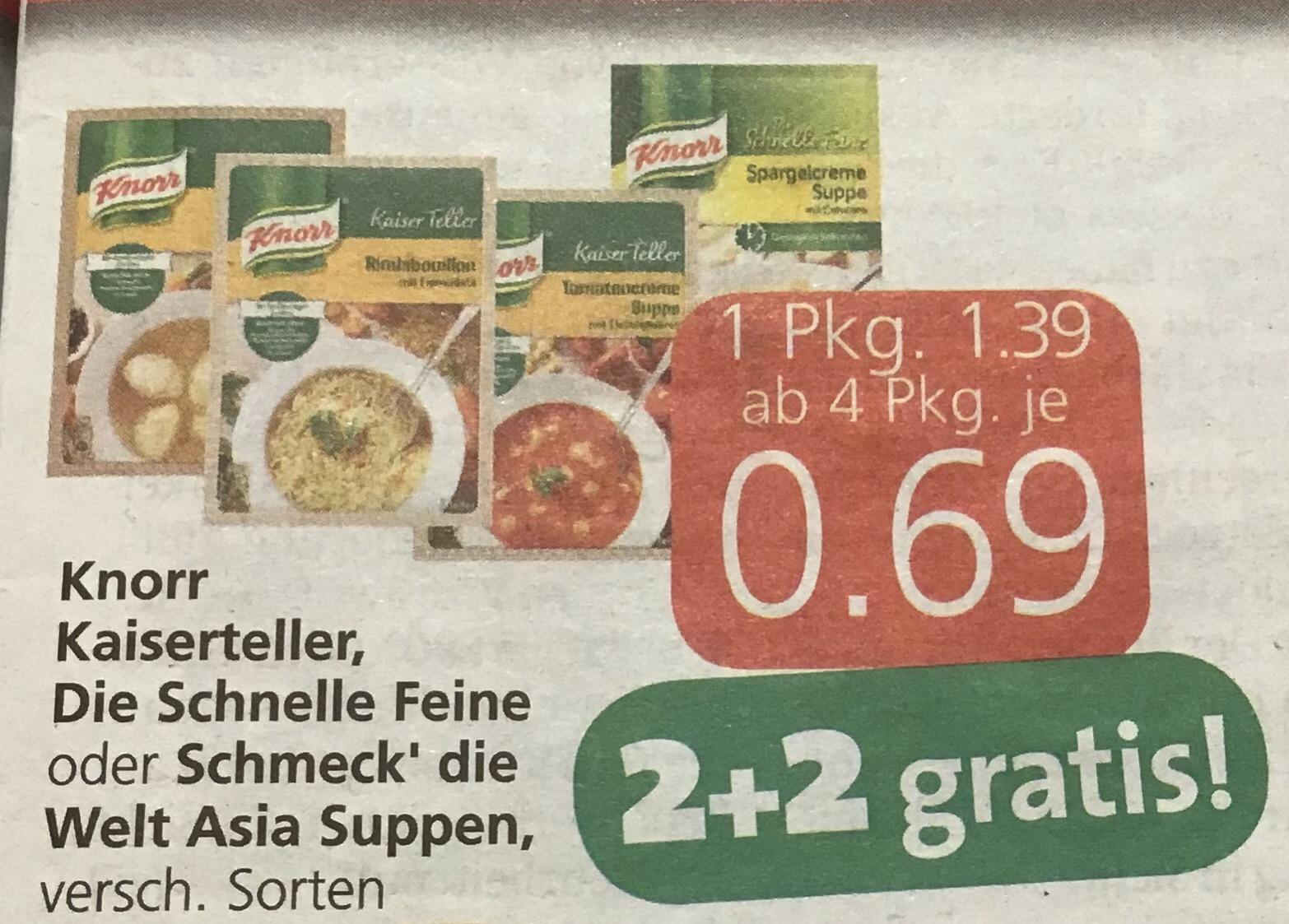 Knorr - Kaiserteller, die Schnelle Feine oder Schmeck´ die Welt Asia Suppen - ab 4 Packungen