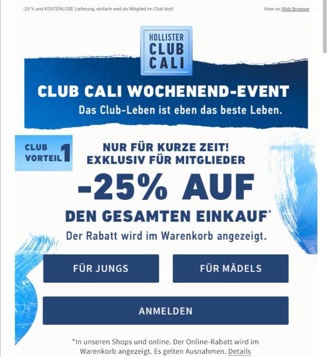 -25% für Club cali Kunden und kostenlose Lieferung