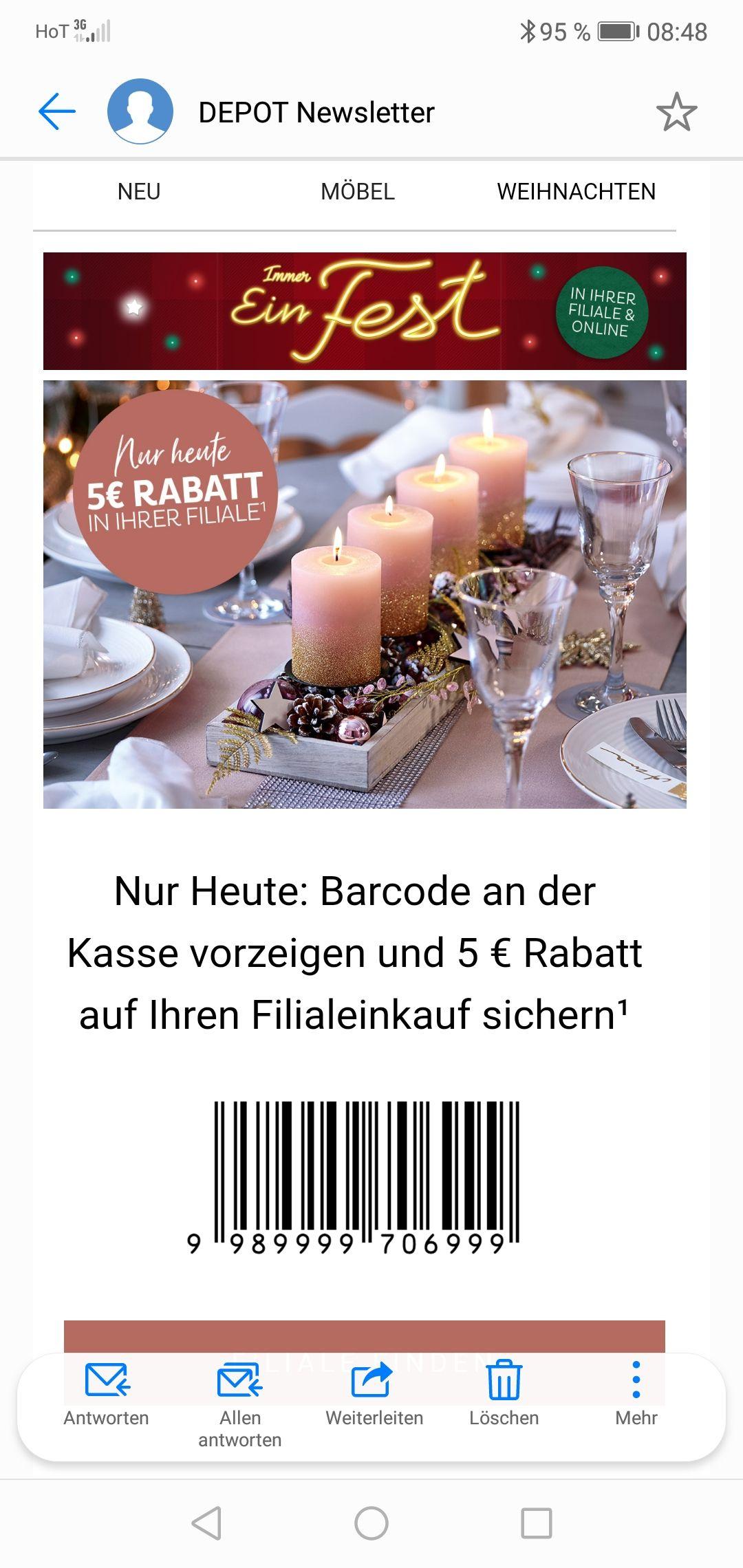 Depot nur heute 5 Euro Rabatt ab 20 Euro einkaufswert