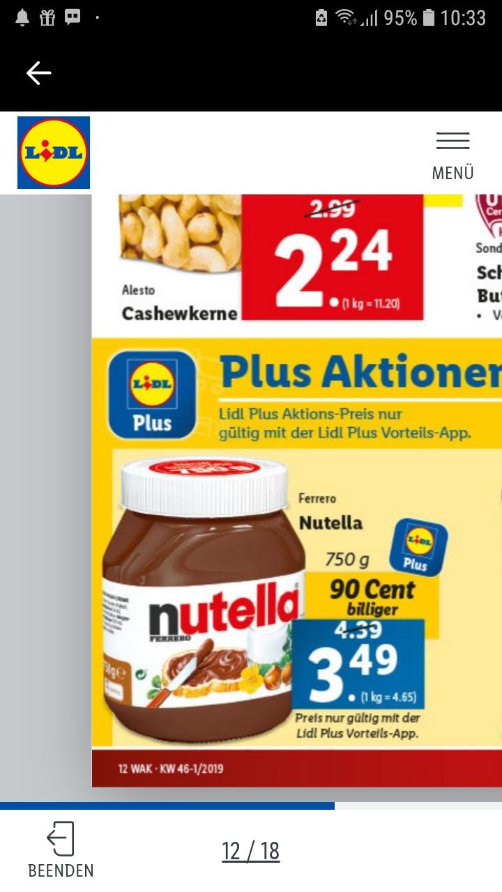 3x Nutella 750g um 7,47€