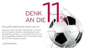 Zur Fußball-WM 2010: LG 11%-Cashback Aktion auf viele LCD-, LED-TVs, Heimkinosysteme und Waschmaschinen