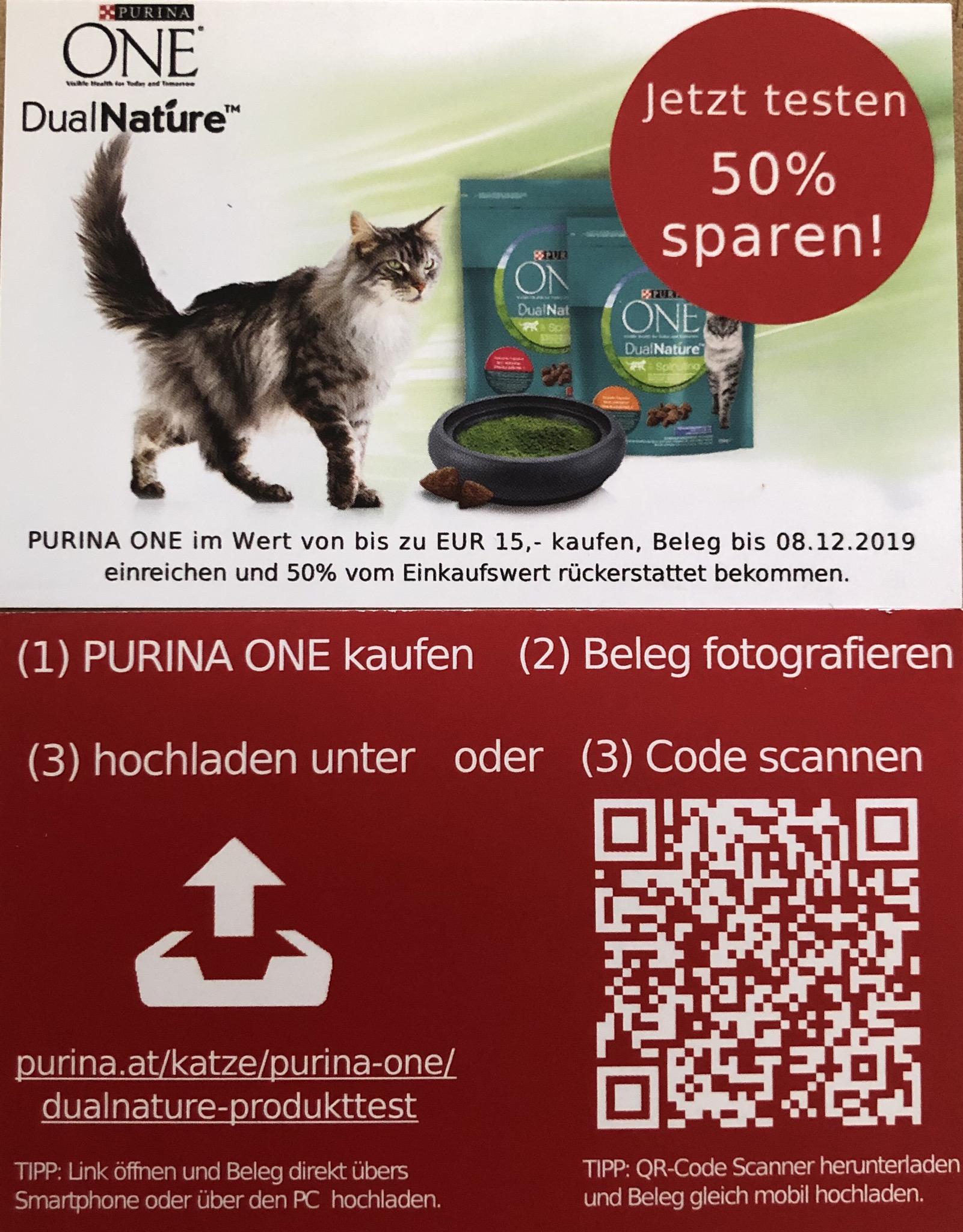 Purina ONE 50% Cashback (max. 7,50€ retour)