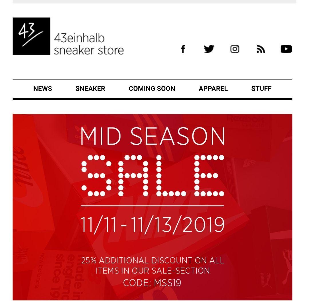 [43einhalb Sneaker Store] Sneaker-Fashion and More. - 25% Rabatt