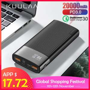 Aliexpress - KUULAA Power Bank 20000 mAh USB Typ C PD Schnelle Lade + Quick Charge 3,0 ab 15,40 Euro
