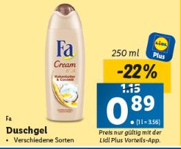 Lidl Plus: Fa Duschgel 0,89€, Celebrations 2,19 €