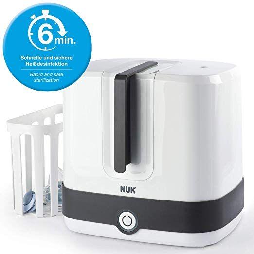 NUK Vario Express Dampf-Sterilisator für bis zu 6 Babyflaschen, Sauger & Zubehör