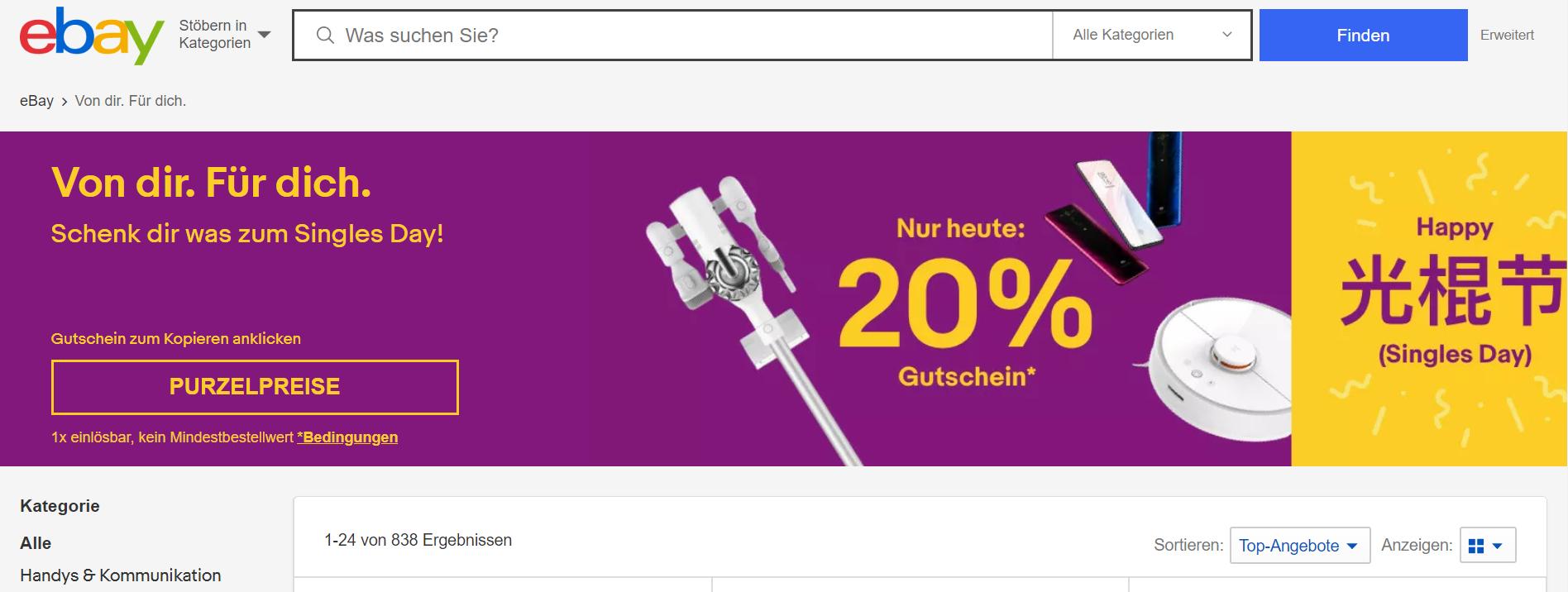 Ebay 20% Gutschein zum Singles Day!