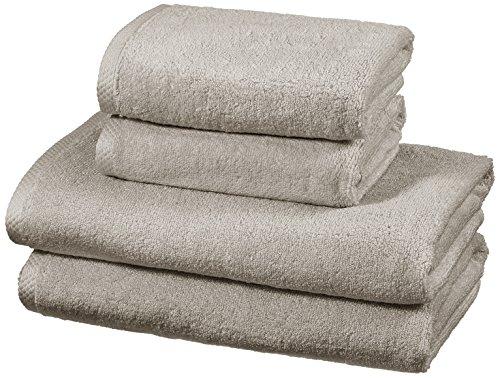 AmazonBasics - Handtuch-Set, schnelltrocknend, 2 Badetücher und 2 Handtücher - Platingrau, 100% Baumwolle