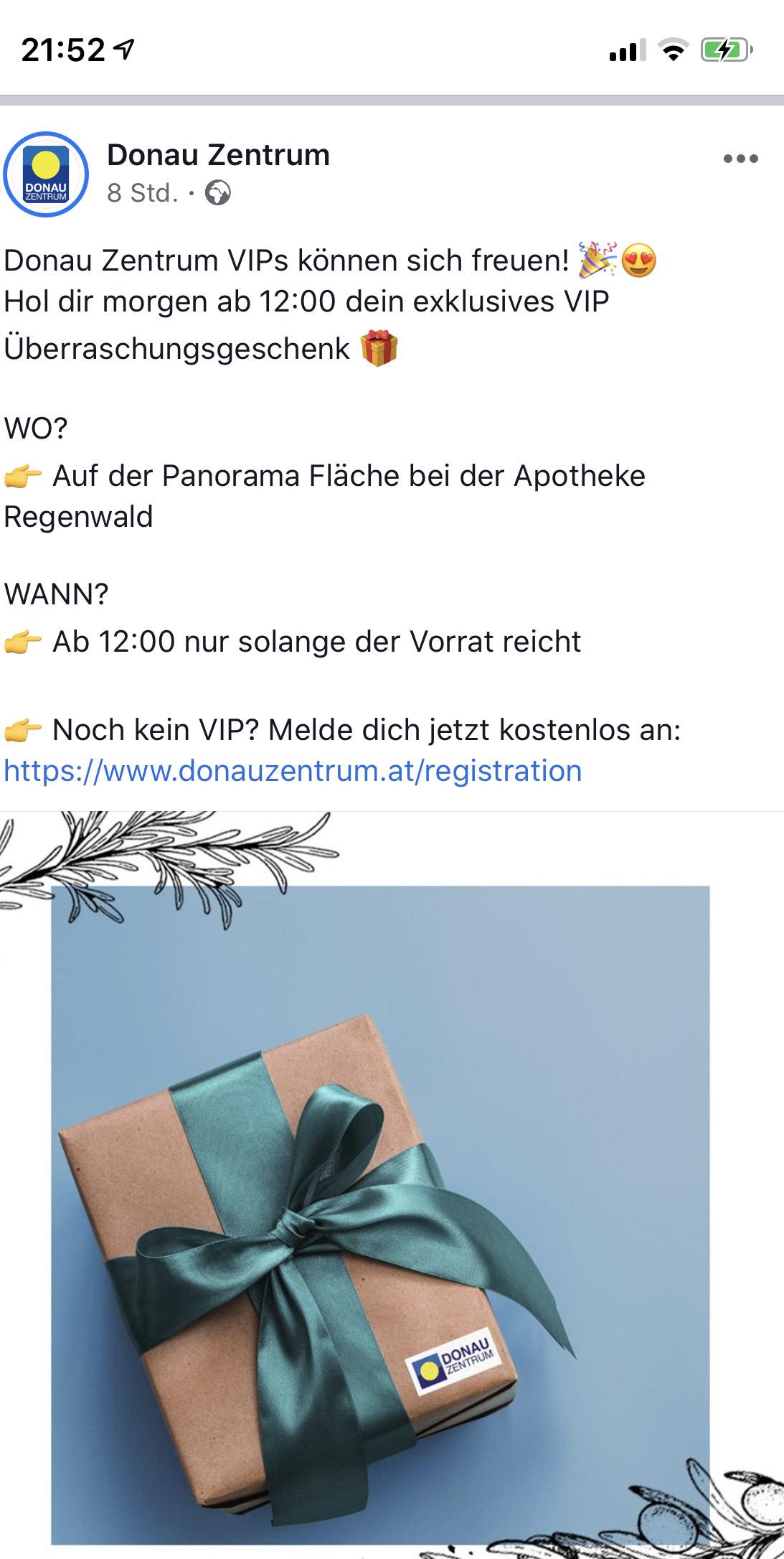 Überraschungsgeschenk für VIPs im Donauzentrum