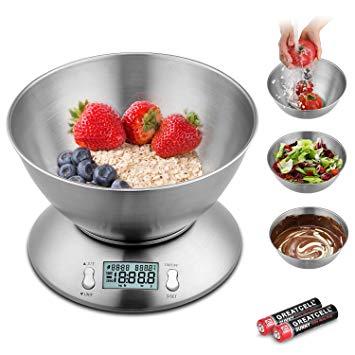 5kg Digital-Küchenwaage mit Edelstahlschüssel