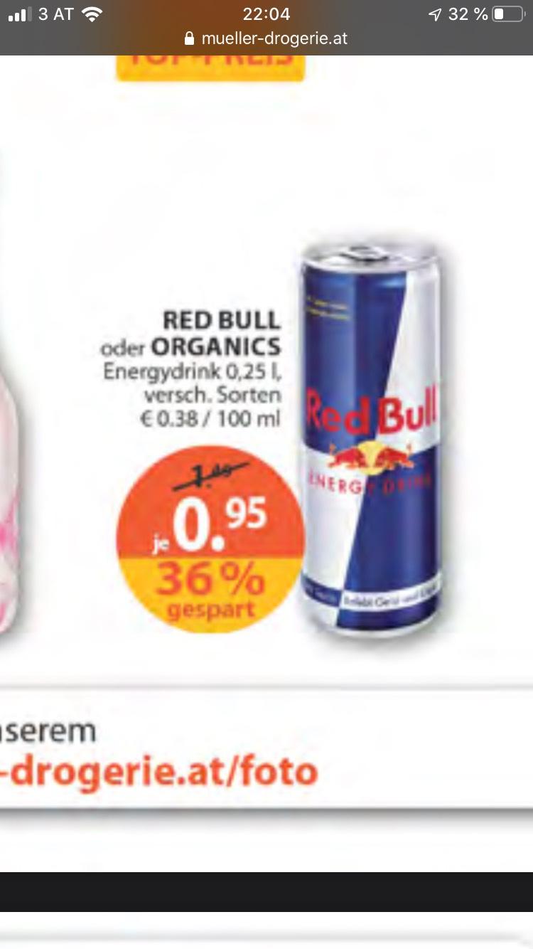 Red Bull oder Organics 95 Cent bei Müller