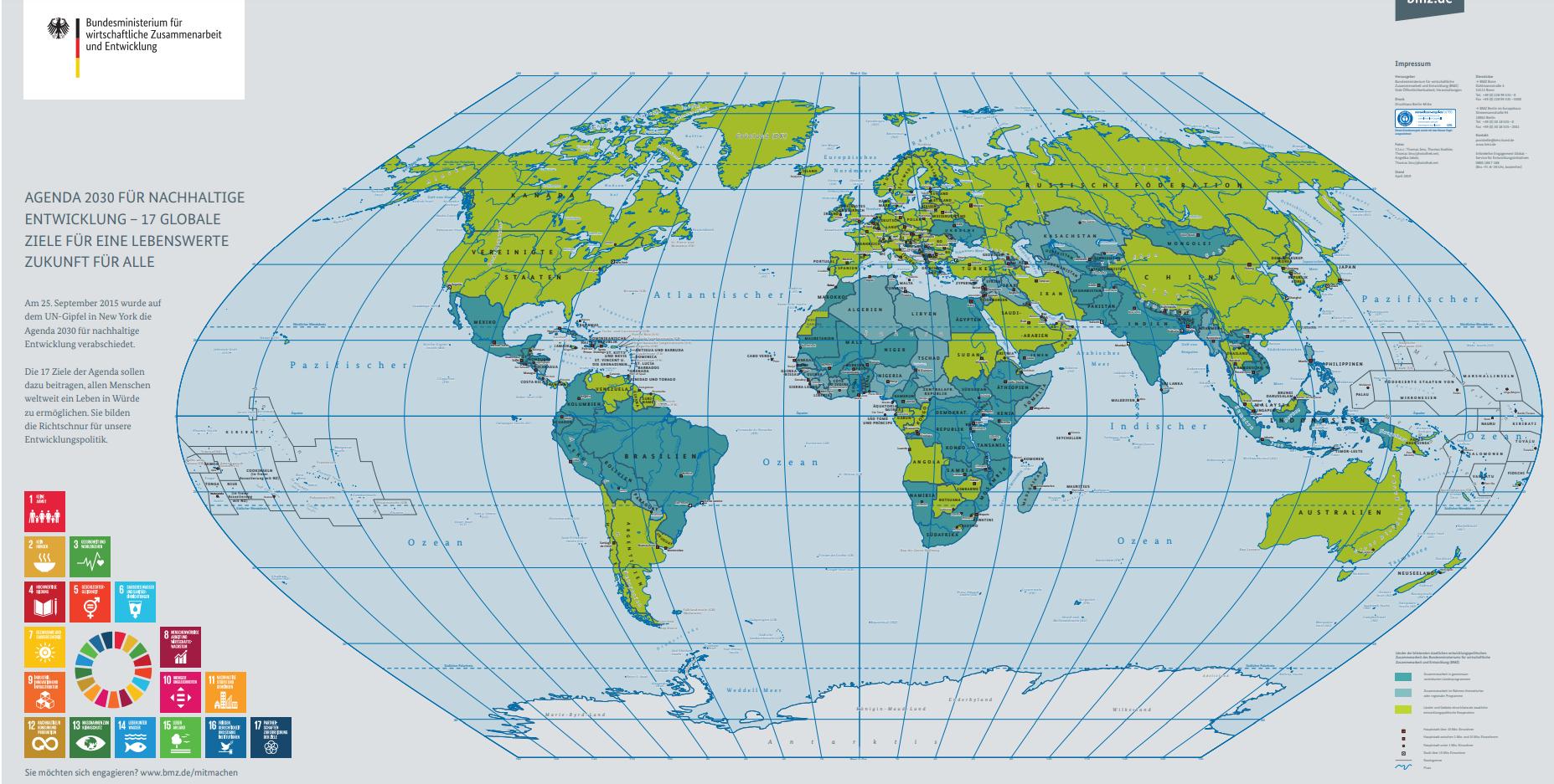 Kostenlose Weltkarte vom Bundesministerium für Entwicklung