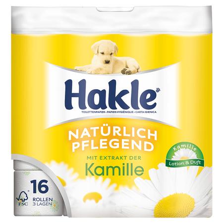 16 Rollen Hakle Kamille Toilettenpapier (nur 0,20 € je Rolle) mit -25 % Code/Sticker