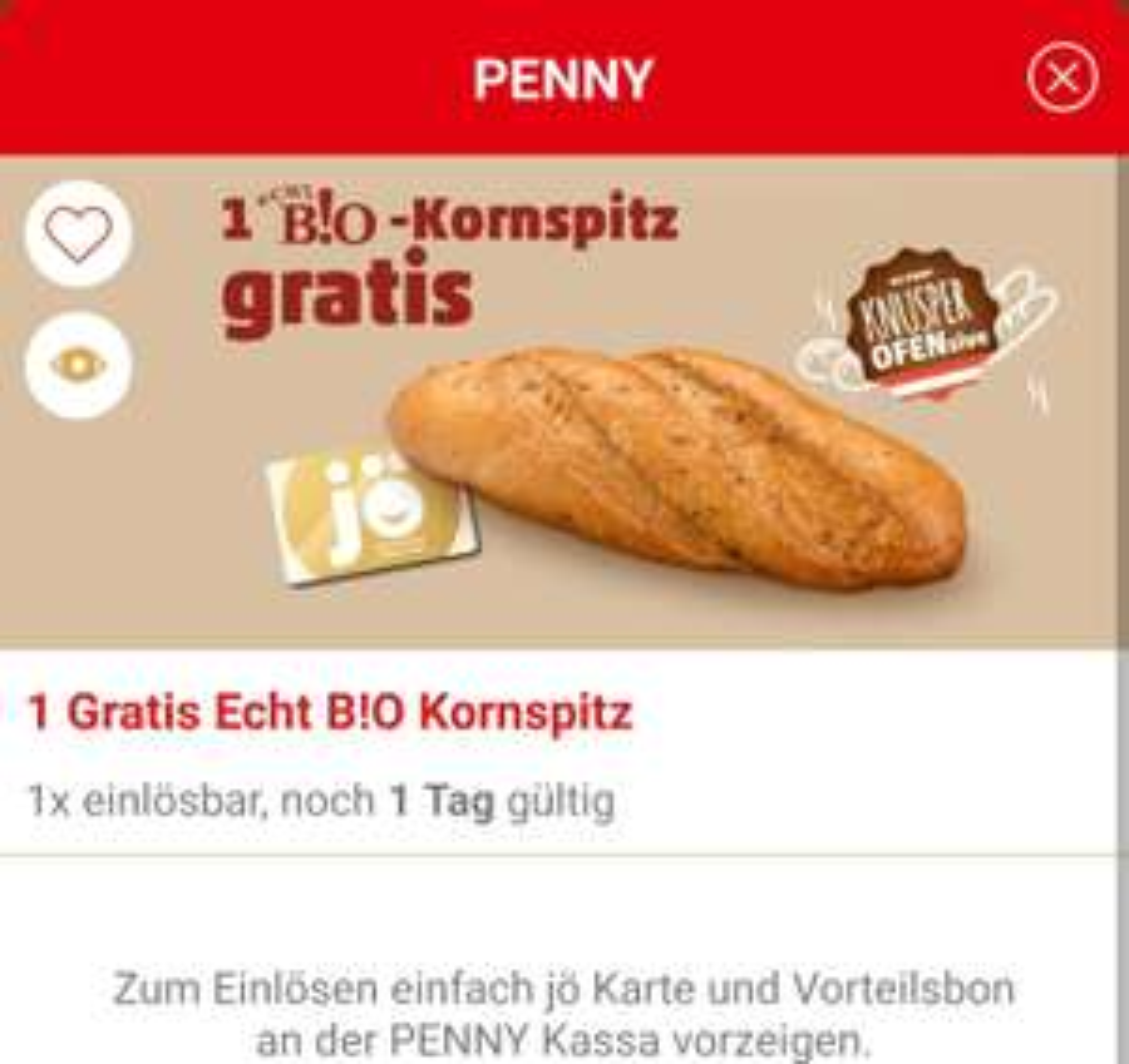 JÖ App: gratis Bio Kornspitz bei Penny