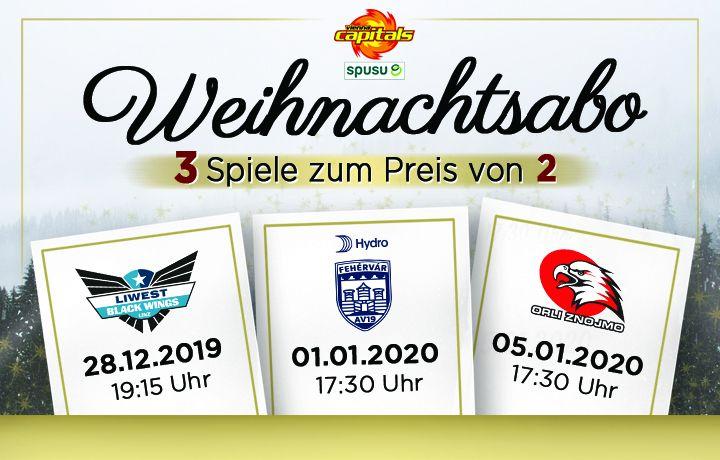 Weihnachtsabo Vienna Capitals 3 Spiele schauen, 2 bezahlen