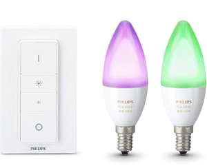 Philips Hue White and Color Ambiance E14 LED Kerze Doppelpack inkl. Hue Dimmschalter