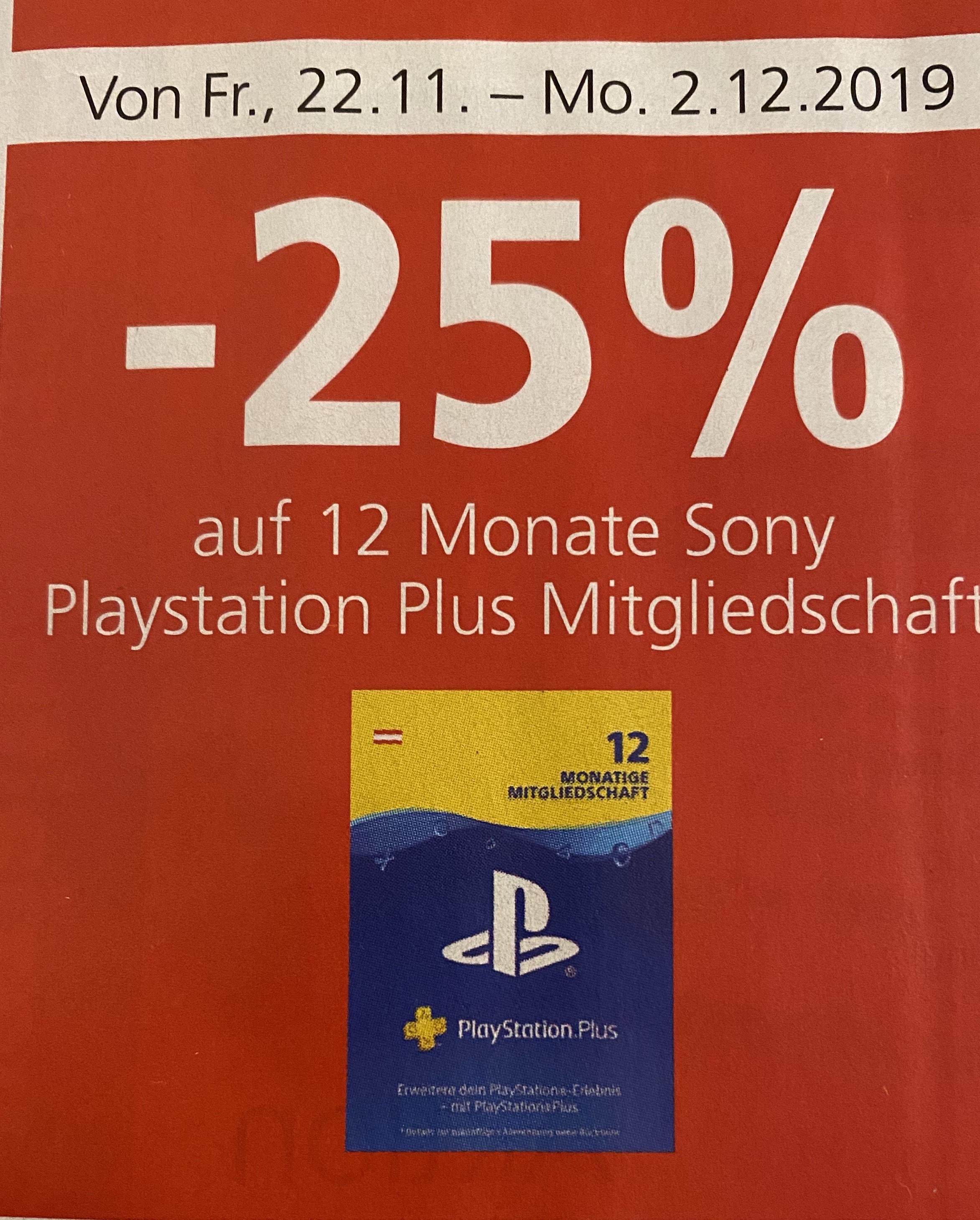 Spar: 12 Monate Sony Playstation Plus Mitgliedschaft