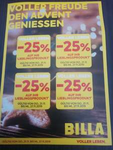 Billa: 4x - 25% pickerl ab 21.11. Bis 27.11.2019