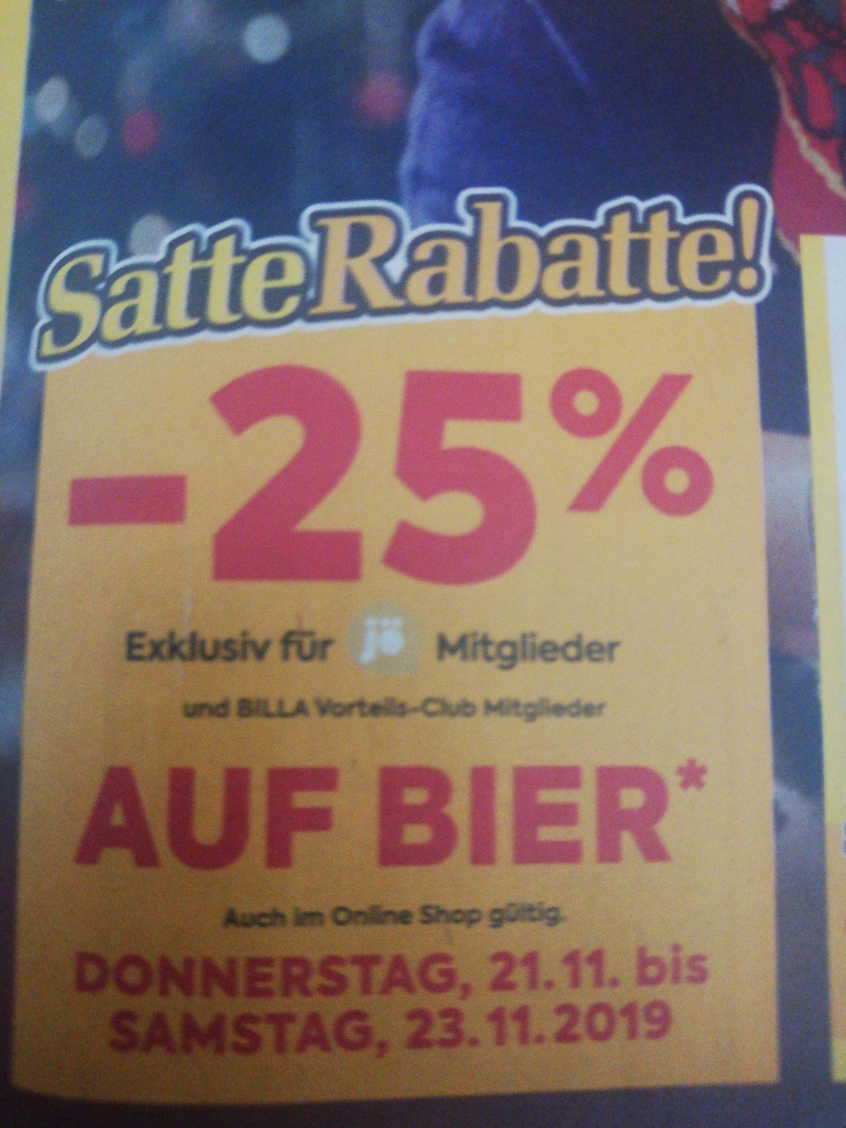 Billa - 25% auf Bier für Mitglieder Jö und Billa mitglieder // -25% auf Tiefkühlprodukte
