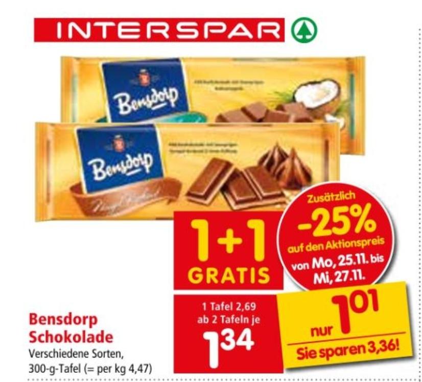 Interspar: Bensdorp 300g Schokolade ab 2 Tafeln