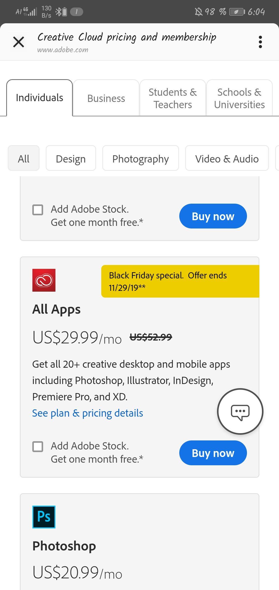 Creativ Cloud Adobe alle Programme Black Friday Sale