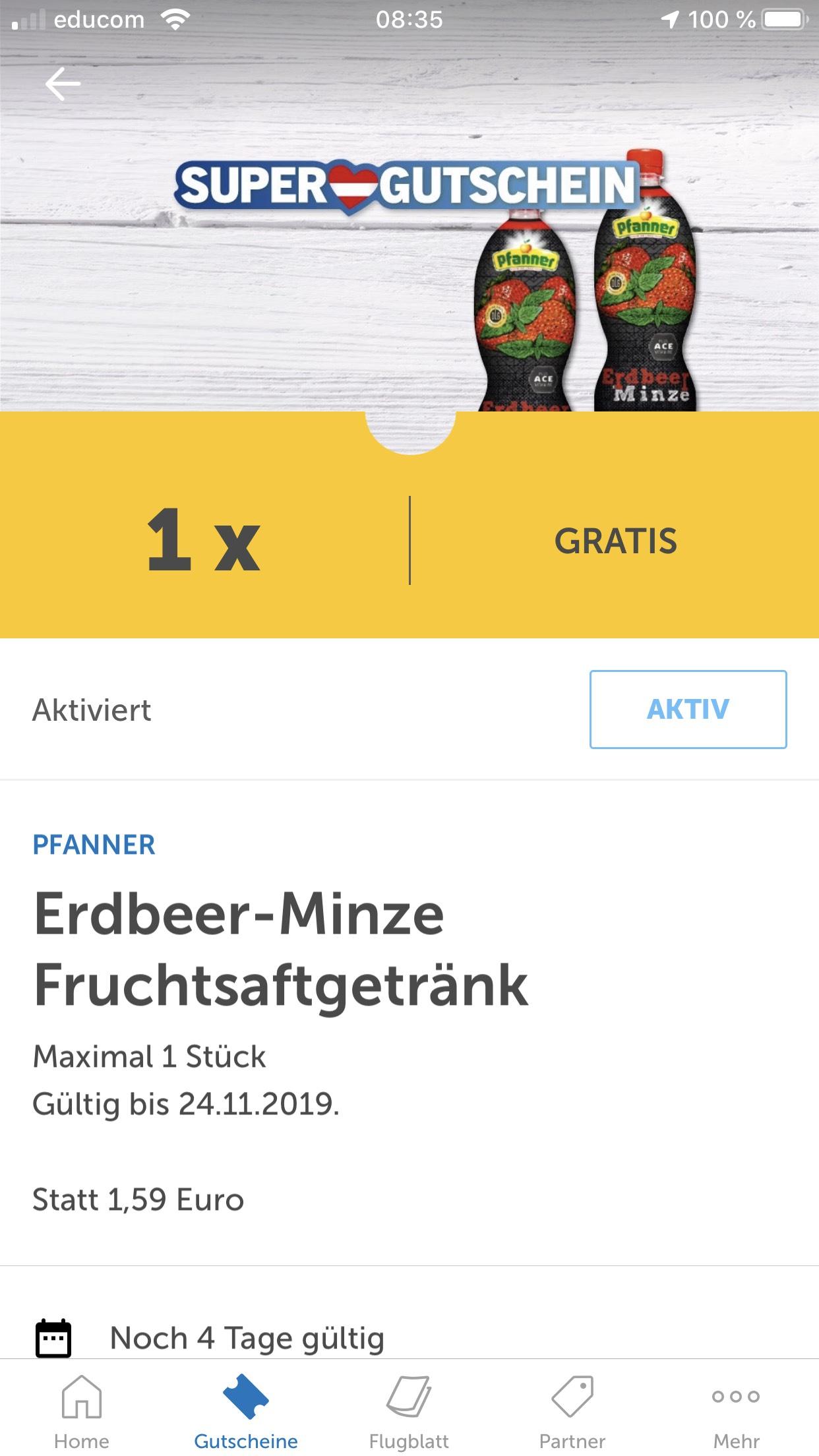 LidlPlus: GRATIS Pfanner Erdbeer - Minze Fruchtsaftgetränk (für ausgewählte Kunden?)