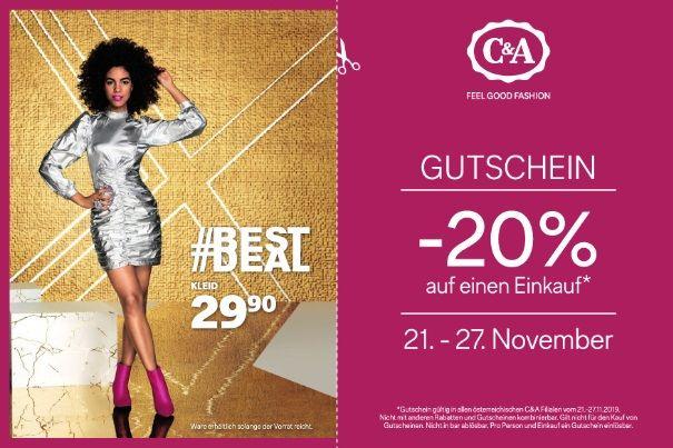 C & A: -20% Gutschein in Zeitschrift HEUTE, einlösbar vom 21.-27.11.2019
