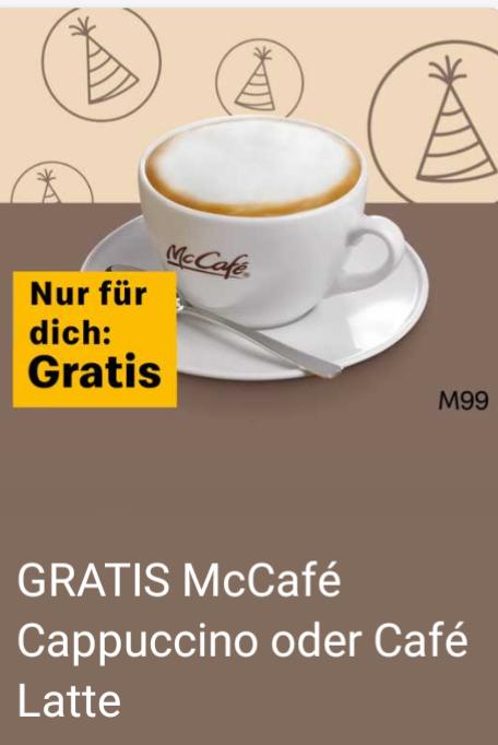 Gratis McCafé Cappuccino oder Café Latte