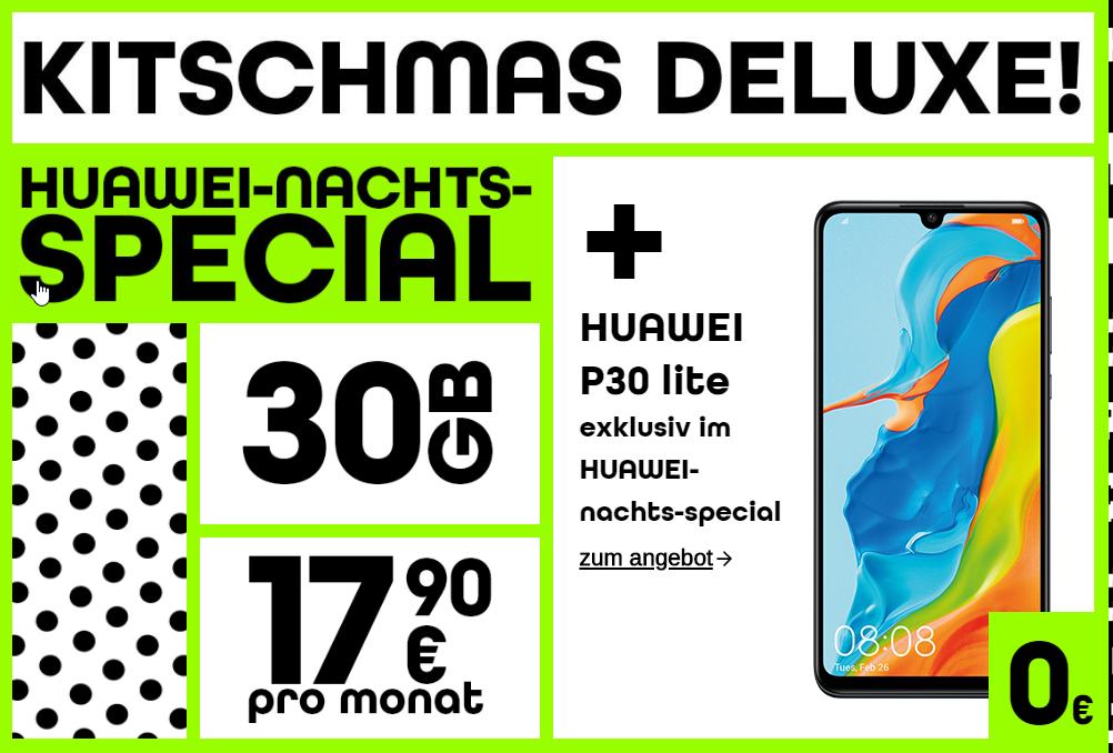 [bob.at] HUAWEI-nachts-special-Tarif (unl. SMS und Telefonie, 30 GB) + Huawei P30 Lite für 17,90 Euro monatlich