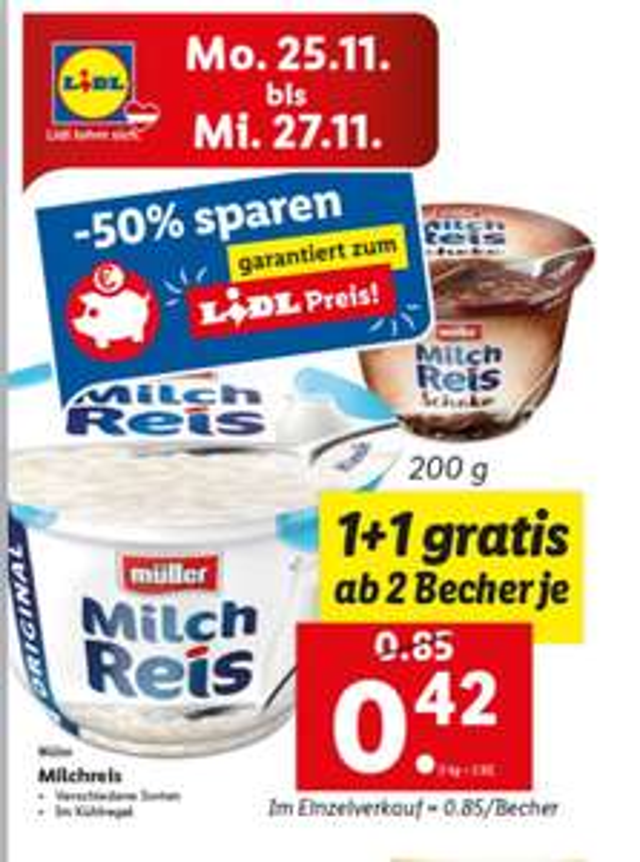 Lidl Müller Milchreis 1+1