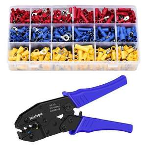 Crimpzangen-Set mit 700 Kabelschuhen (Ringen, Stiften und Steckern)