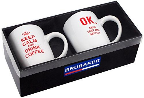 """BRUBAKER """"Keep calm and drink coffee!"""" Tassen Set aus Keramik - Grußkarte und Geschenkpackung"""