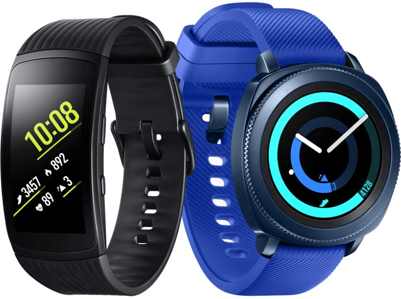 SAMSUNG Smartwatch Gear Sport SM-R600, blau inkl. Gear Fit 2 Pro Large R365, schwarz