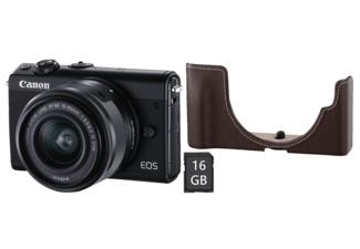 CANON Systemkamera EOS M100 schwarz mit Objektiv EF-M 15-45mm + EH31-FJ Fronthülle + 16GB Speicherkarte